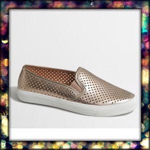 {J.Crew} Golden Slip on shoes